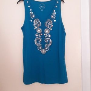 INC Teal Embroidered Tunic